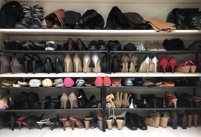 Organized shoes in the closet