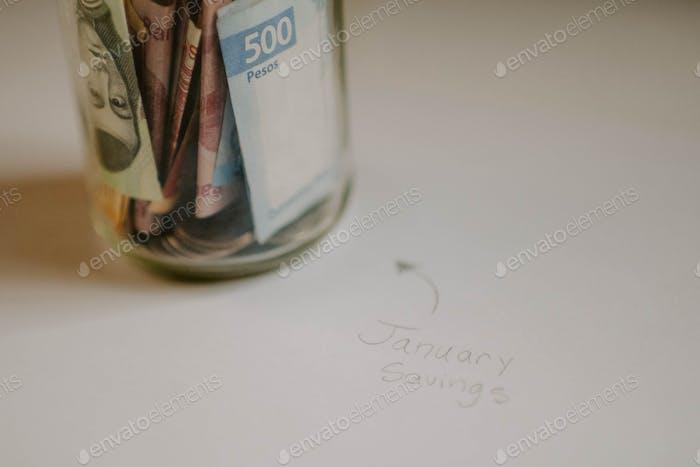 January savings in a jar