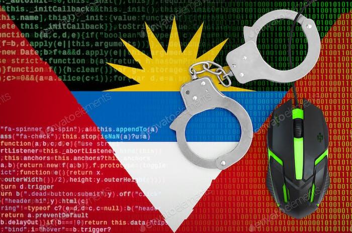 Antigua and Barbuda flag  and handcuffed modern backlit computer mouse