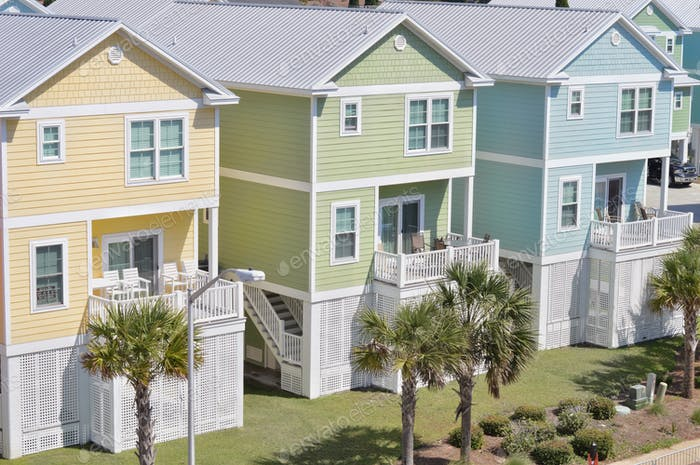 Pastel condos for rent along the beach