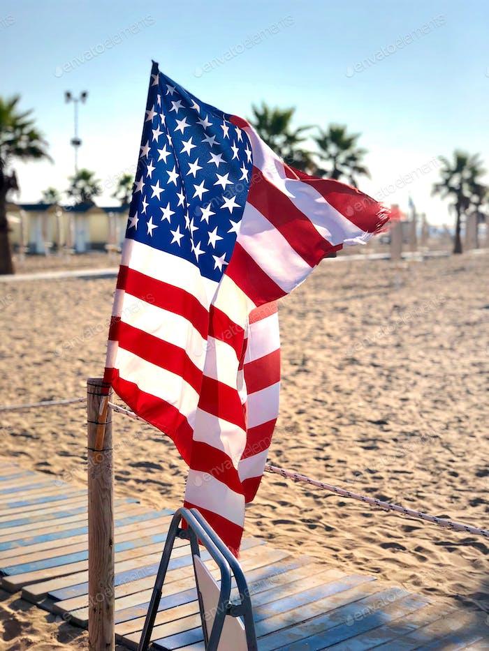 USA flag god bless America beach background no people