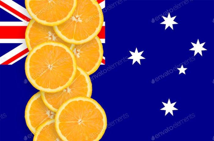 Australia flag and vertical row of orange citrus fruit slices
