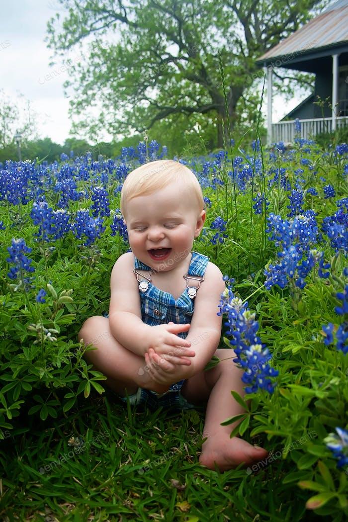 Happy boy in the blue bonnets!