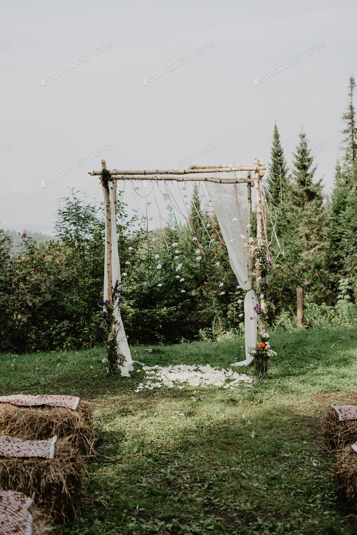 Wedding reception outdoors in the woods
