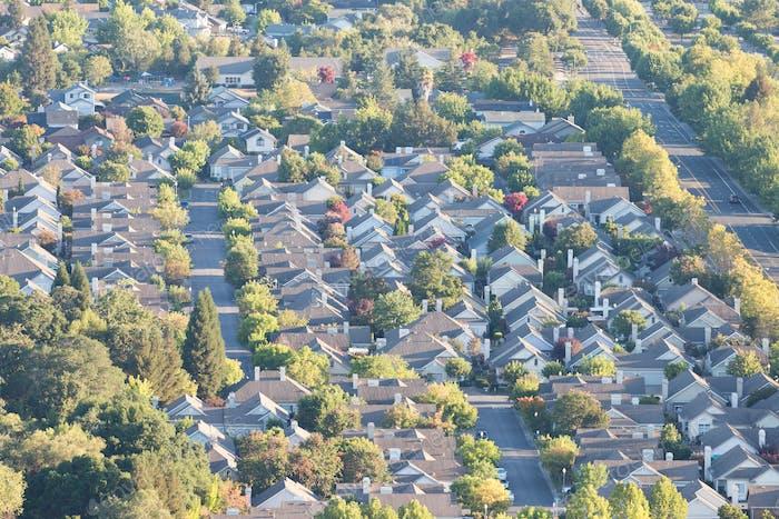 Пригородный район с высоты птичьего полета