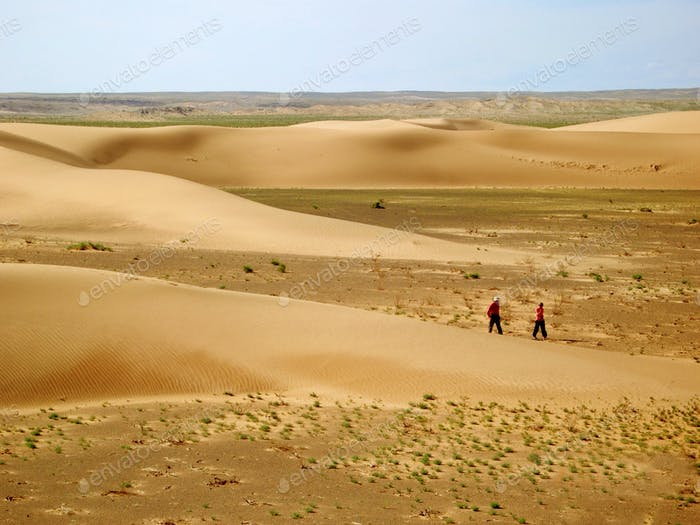 Tiny humans big world: Two desert trekkers. Mongolia