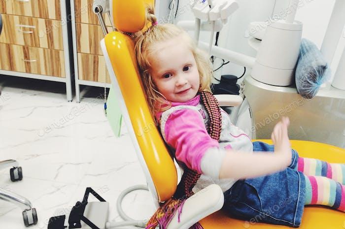Brave girl at the dentist