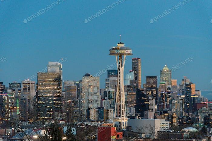 Seattle skyline dusk blue hour