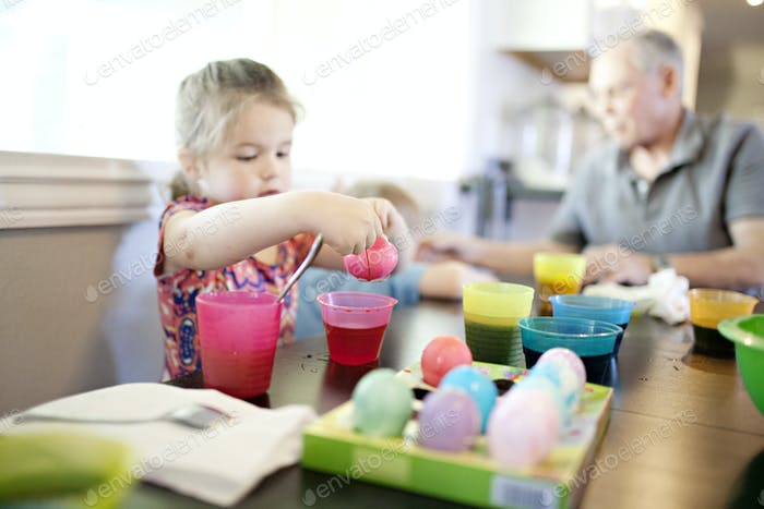 dying easter eggs with the family