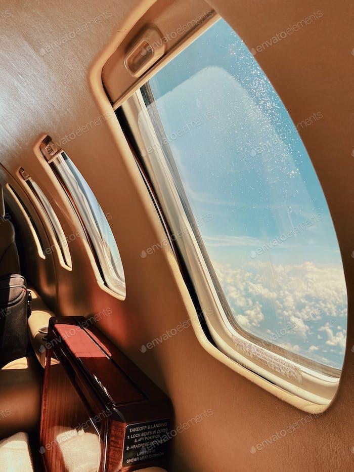 Private jet window