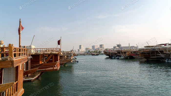 Dhow HARBOUR. Dhow port. Wooden dhow. Traditional shows. Qatar. Doha. Visit Qatar.