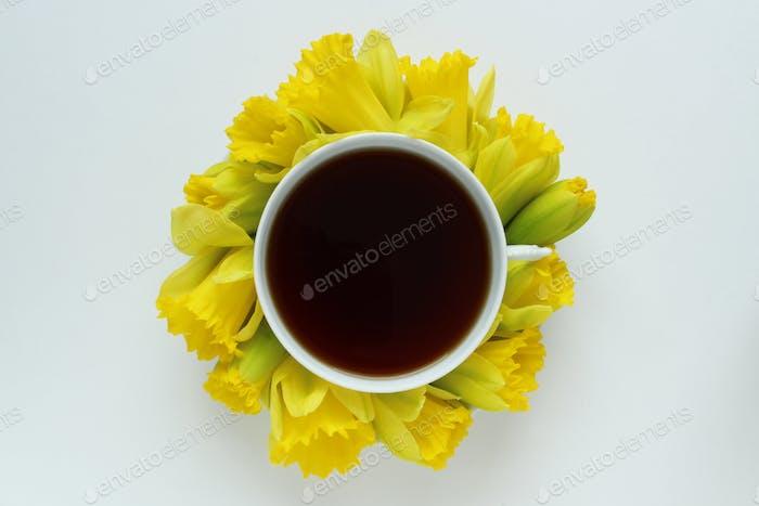 Daffodils and coffee