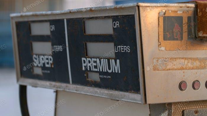 Closeup of Old abandoned petrol station