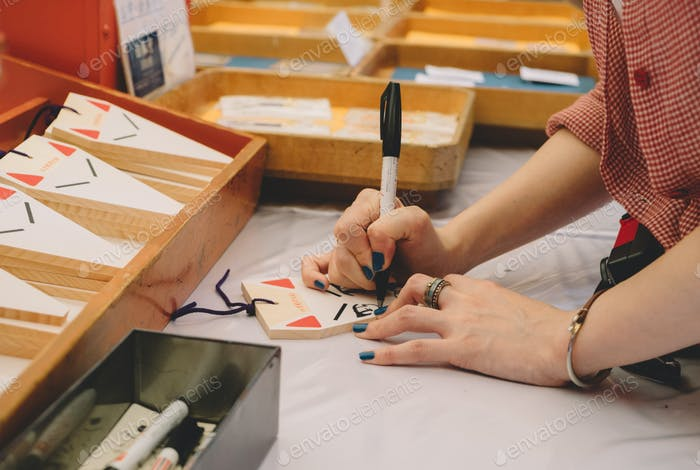 Hand writing for good luck at Japanese temple
