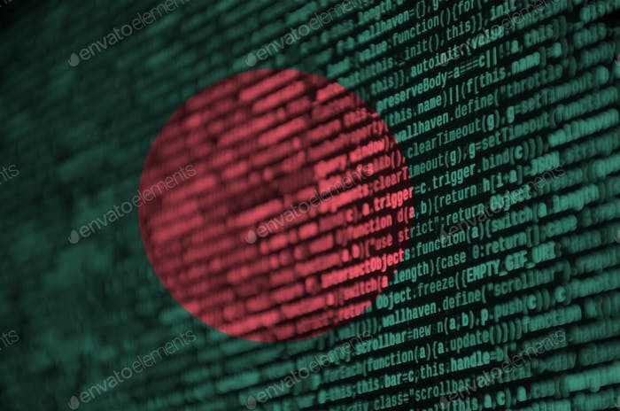 Bangladesh flag  is depicted on the screen with the program code