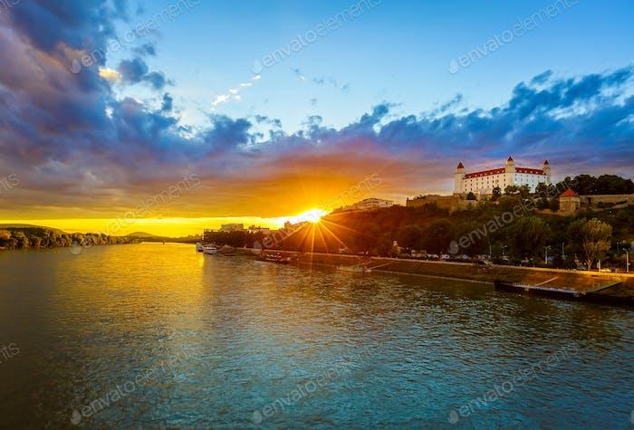 Sunset at Danube river