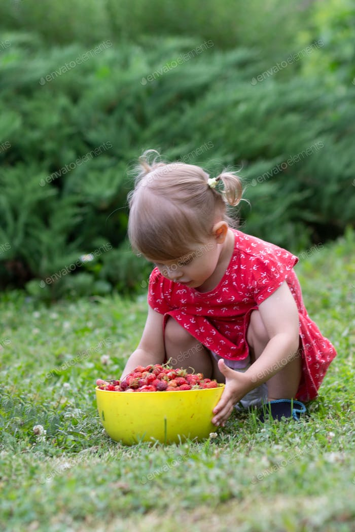 A little beautiful blonde girl of two years in a red dress eats berries from a yellow cup in the gar