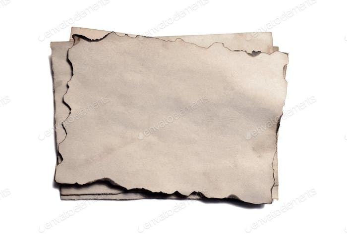 Few old blank pieces of antique vintage crumbling paper manuscript or parchment horizontally