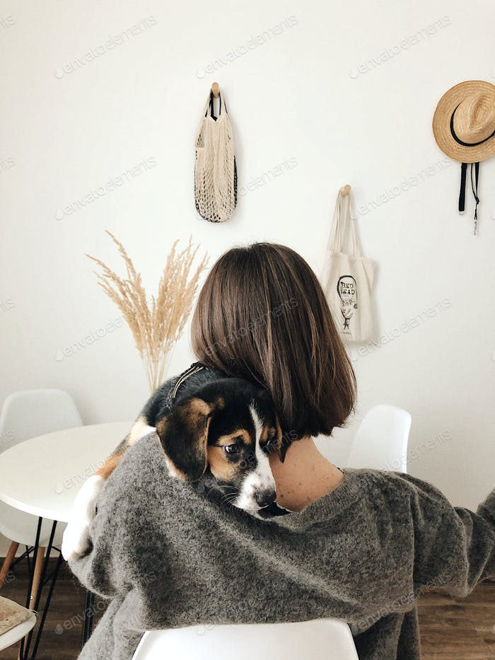 a quiet morning with doggie in the white kitchen