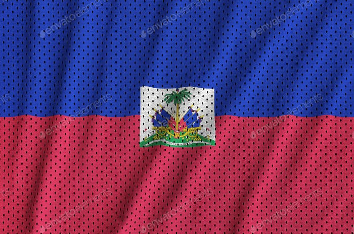 Haiti flag printed on a polyester nylon sportswear mesh fabric with some folds