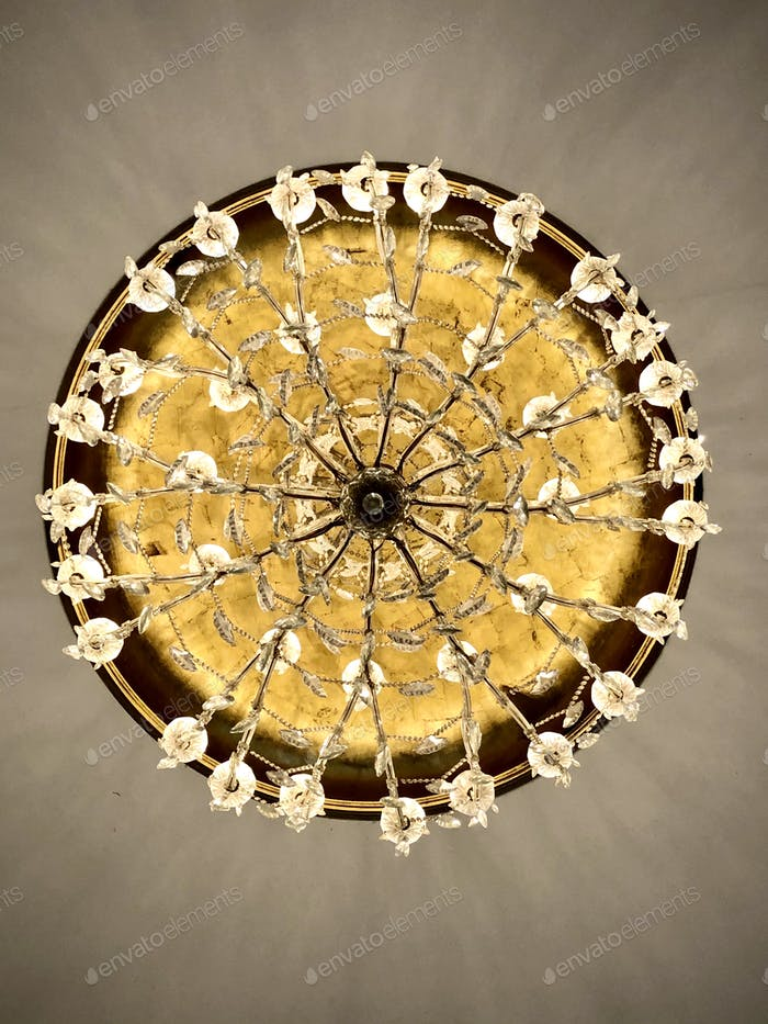 The bottom of a chandelier.