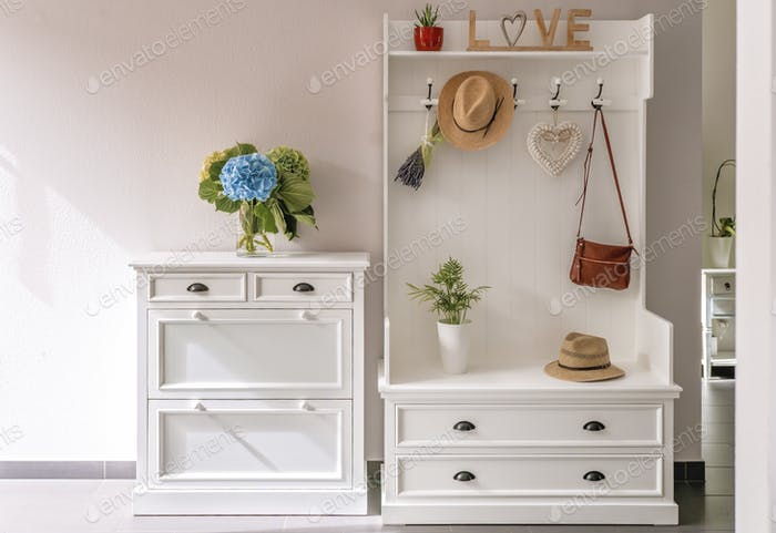 Foyer furniture, minimal home interior, white wooden clothes hanger, light and bright lifestyle