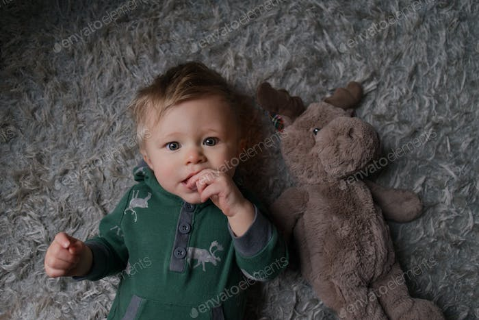 One-year-old portrait with a stuffed animal