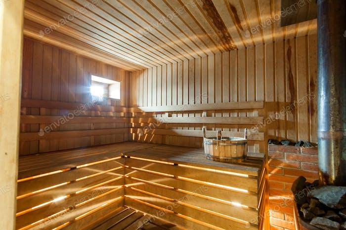 interior room apartment. standard repair decoration in hostel. bathhouse, sauna