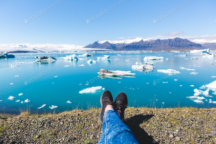 Relaxing by Glacial Lagoon