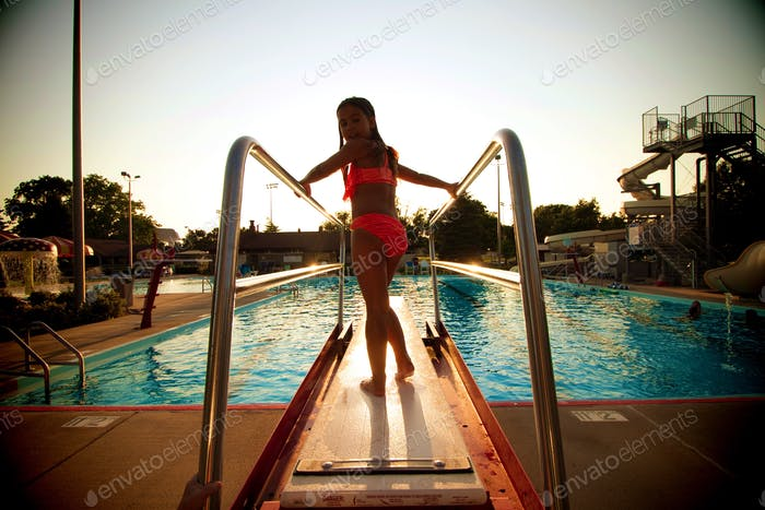 Getting ready to jump into pool
