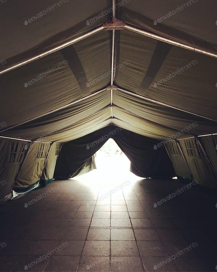 Isolation triage tent.