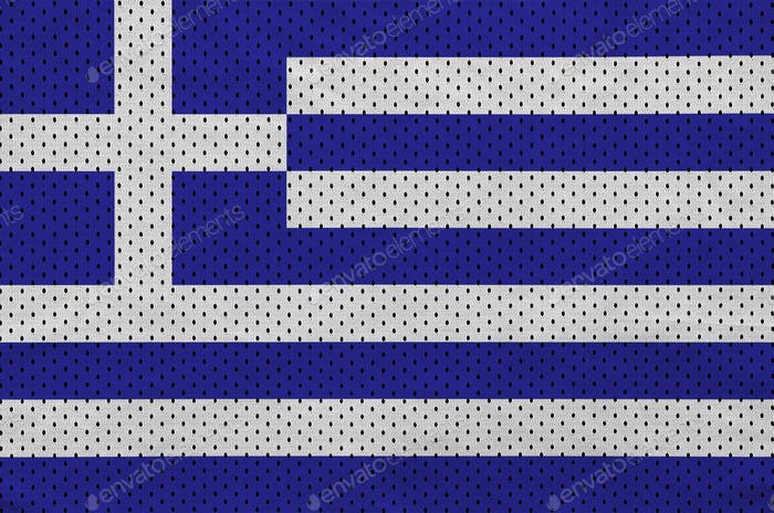 Greece flag printed on a polyester nylon sportswear mesh fabric with some folds