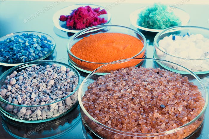 Chemistry and science. Powders, substances to analyse. Chemical science. Chemical industry