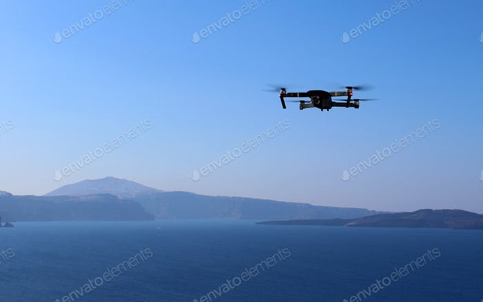 Drone Photography Adventures on Top of the Mountains of Santorini, Greece over the Aegean Sea.