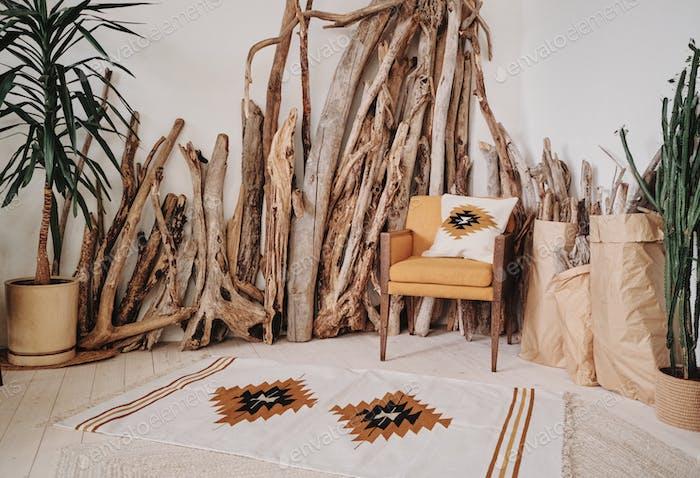 Boho interior with mexican carpet