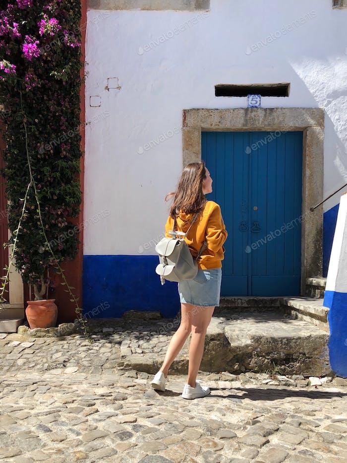 A tourist in Obidos, Portugal