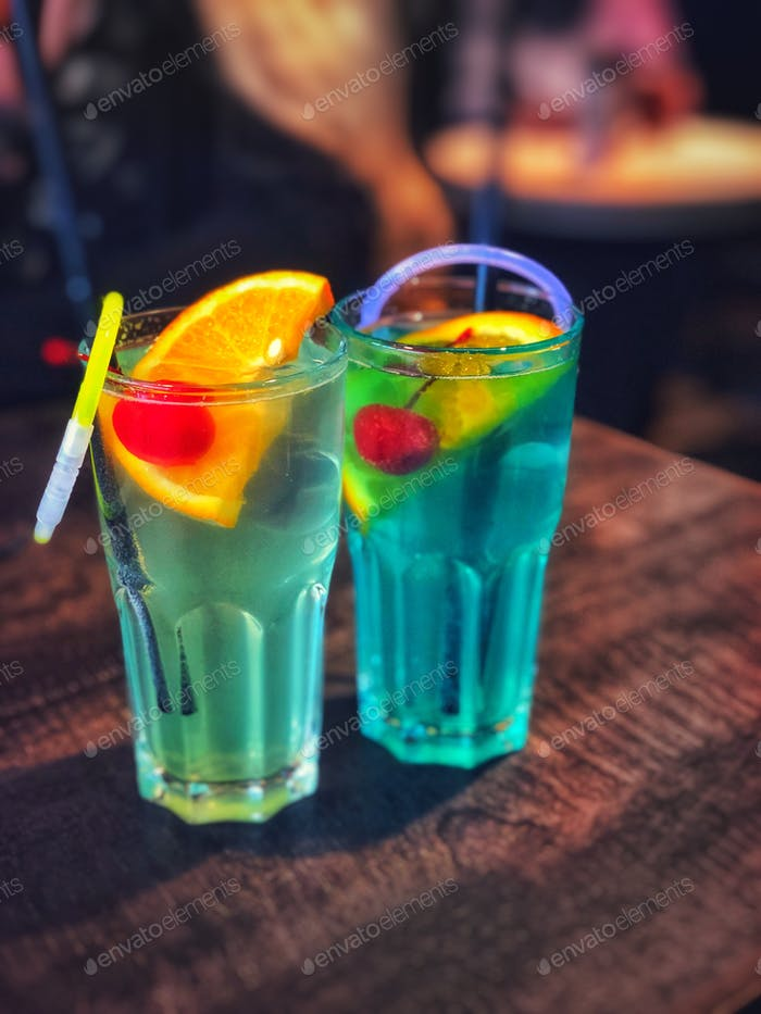 Colorful drinks on a table