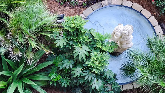 A decorative feature outside a condo has plants and a fountain with a water feature.
