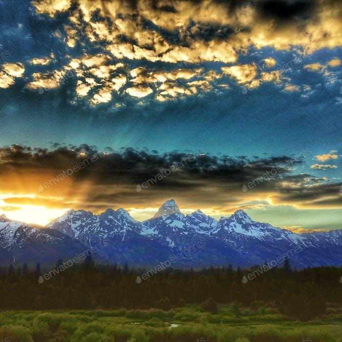 Sonnenuntergang im Grand Tetons Nationalpark, Wyoming