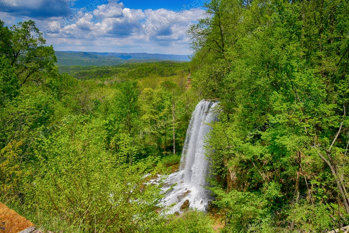 beautiful waterfall in mountains of Virginia. earth's natural resources water, trees, soil, air