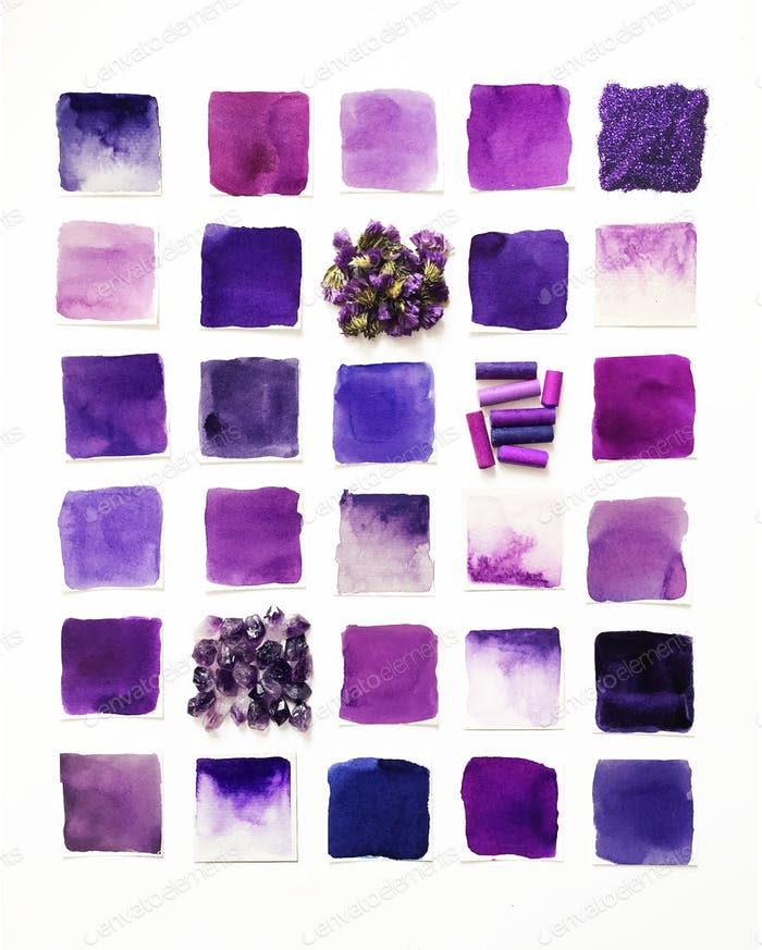 Grid of purple paint swatches lined up with amethysts