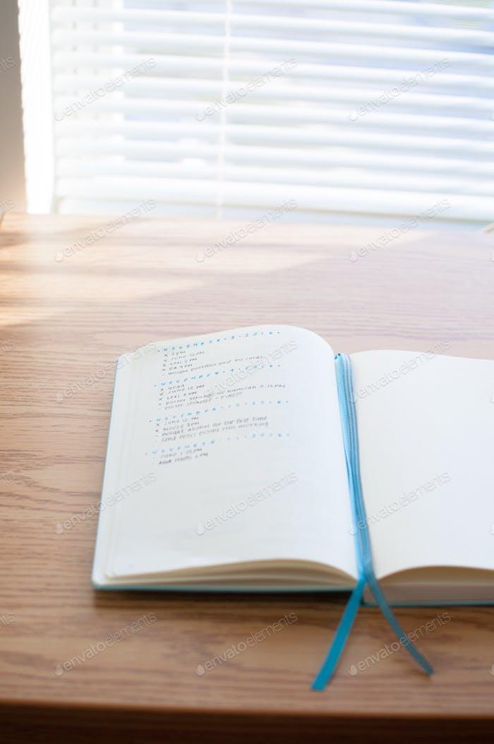 Bullet journal in the morning light