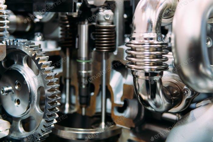 Cogs, Gears and Wheels Inside Truck Diesel Engine