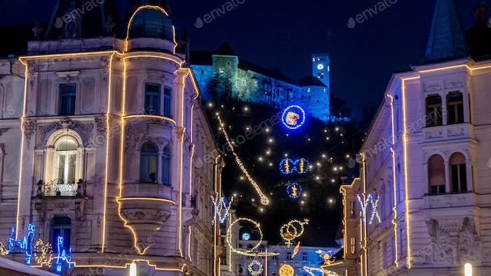 Night time cityscape with christmas light and decorations in Ljubljana, Slovenia.