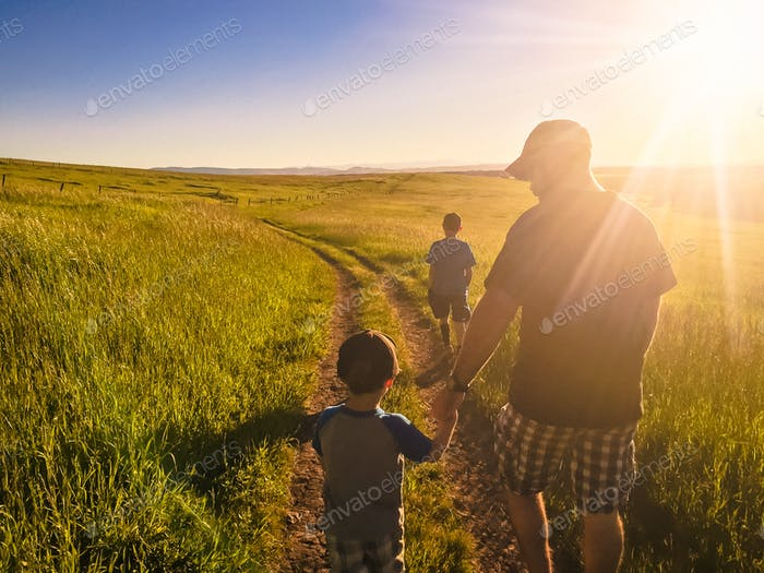 Evening summer stroll with the family.