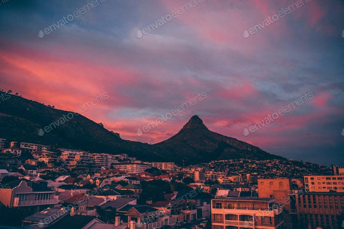 Shape of Lions Head Mountain in Cape Town, Sea Point at sunset. South Africa
