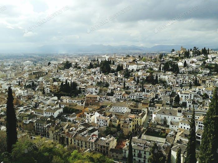 Granada cityscape from alhambra