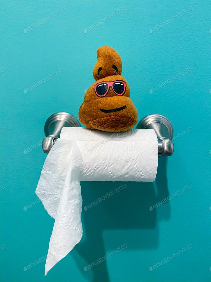 A poop toy on a roll of toilet paper, funny photo, toilet roll, bathroom, humor, restroom, hilarious