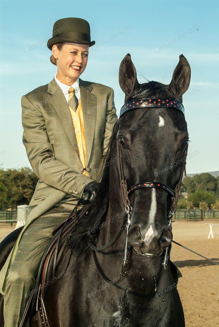 Equestrian English Pleasure Show horse and rider