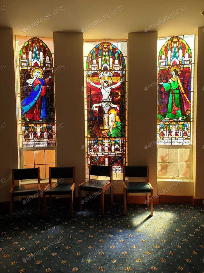 Stained glass windows inside place of worship